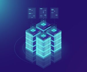 Isometric Server room and big data processing concept, datacenter and data base icon, digital information technology, neon dark gradient hosting